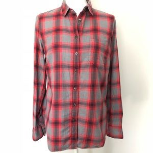 J Crew Top Flannel Plaid Perfect Shirt Red Grey
